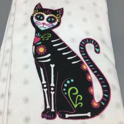2pc Cynthia Rowley Halloween Sugar Skull Cat Kitchen Towel S
