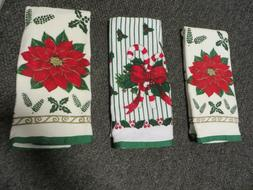 3 DII 100%  COTTON   POINSETTAS & CANDY CANES KITCHEN TOWELS