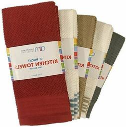 "3 PACK KITCHEN TOWELS ASSORTED COLORS 100% COTTON 16"" X 24"""