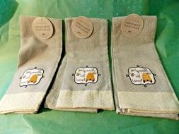 "3 DII EMBROIDERED KITCHEN TOWELS BEES & HIVE ""HONEY I'M HOME"