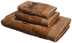 HiEnd Accents 3-Horse Embroidered Western Towel Set, Mocha,