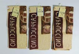 """3 New Royal Norfolk Cappuccino Kitchen Towels ~ 16"""" x 25"""" ~"""