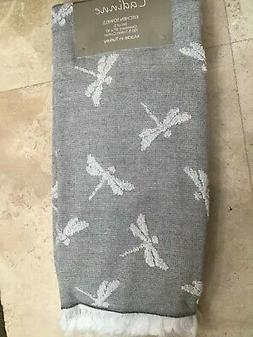3 pack kitchen towels dragonfly black fringe
