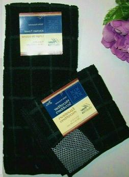 4 Pc Black Kitchen Set Microfiber Drying Mat Towel Mesh Scru
