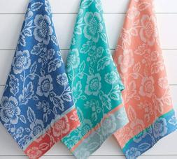 3 Piece Set BIG BLOOMS Floral Jacquard Weave Cotton Kitchen
