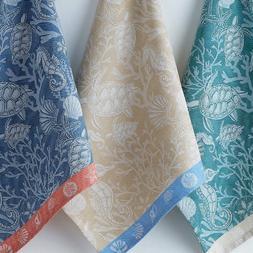 3 Piece Set CORAL REEF Jacquard Weave Cotton Kitchen Tea Tow