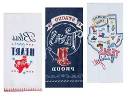 3 Texas Themed Decorative Cotton Kitchen Towels Set with Whi