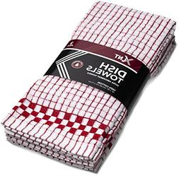 3 Towels Red Checkered Kitchen Hand Towel with Hanging Loop