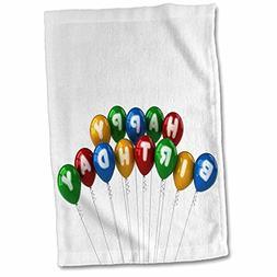 "3D Rose Arranged Happy Birthday Balloons Towel, 15"" x 22"""