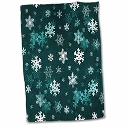 3D Rose Blue Green Winter Christmas Snowflakes with A Seamle