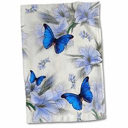 """3D Rose Butterflies Hand Towel, 15"""" x 22"""""""