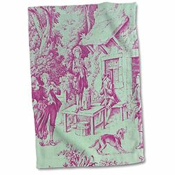 """3D Rose French Farm Popular Toile Print Hand Towel, 15"""" x 22"""