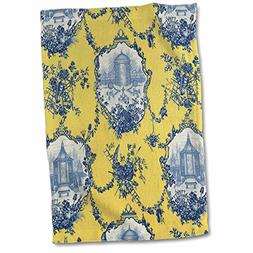3D Rose Garden French Yellow and Blue. Popular Toile Print H