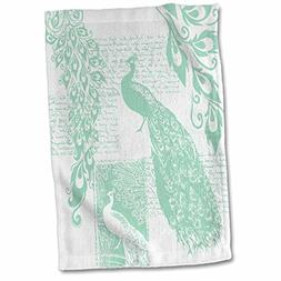3D Rose Mint Green Vintage Peacock- Birds Hand/Sports Towel