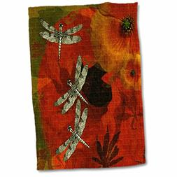 3d rose poppies dragonflies hand