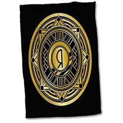 3D Rose Letter R Art Deco Geometric Monogram in Faux Gold an