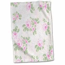 3D Rose Vintage Pink Pattern Flowers On Light Cream Damask-S