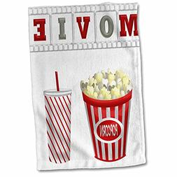 3D Rose The Word Movie with Popcorn and Soda Illustration in