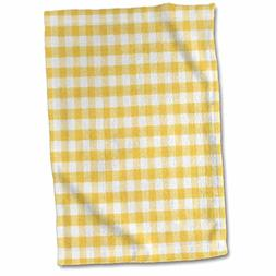 3D Rose Yellow and White Gingham Pattern-Sunny Checkered Rus