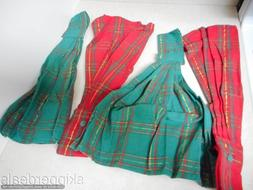4 HANGING KITCHEN TOWELS RED GREEN PLAID COTTON SNAP CLOSURE