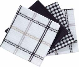 4 Kitchen Dish Towel Set Ultra Absorbent Cloths Windowpane B
