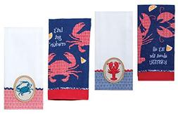 4 Nautical Themed Decorative Cotton Kitchen Towels Set with