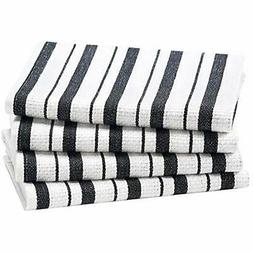 Cotton Craft - 4 Pack Basket Weave Kitchen Towels Black 100%