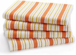 Cotton Craft - 4 Pack - Basket Weave Kitchen Towels - Coral