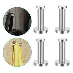 4-pack Brushed Stainless Steel Towel Hook Kitchen Robe Coat