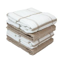 4 Pack of Kitchen Towels - Windowpane Stripes - Soft Cotton