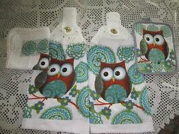 4-PC. HANGING KITCHEN TOWELS+ OWL GREAT GIFT* CROCHETED TOPS