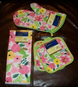 4 Pc Kitchen Set Oven Mitt Cotton Towel Pot Holder BRIGHT FL