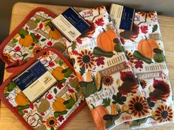 4 Pc Kitchen Set Towels Potholders Harvest Autumn Thankful S