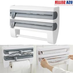 4in1 Kitchen Cling Film Tin Foil Paper Towel Holder Roll Sto
