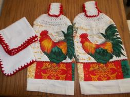 4pc-HANGING KITCHEN TOWEL SET,  CROCHET TOPS - Red Rooster-
