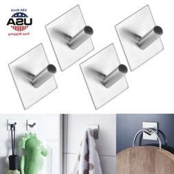 4PCS Brushed Stainless Steel Towel Hook Kitchen Robe Coat Ha