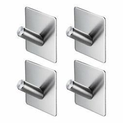 4x Bathroom Hook Towel Hanger Self Adhesive Stainless Steel