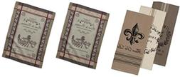 Design Imports Bundle of 5 French Decor Dish Towels, 3 Grain
