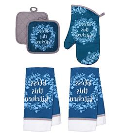 5 pc BLESS THIS KITCHEN Set Hand Towels + Pot Holders + Oven