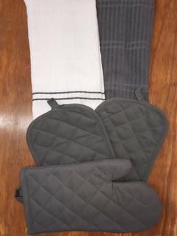 5 Pc Kitchen Set 2 Hand Towels,2 Pot Holders,1 Mitt  Gray &