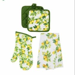 5 PC 🍋 LEMONS Kitchen Linens Set 2 Towels 2 Pot Holders 1