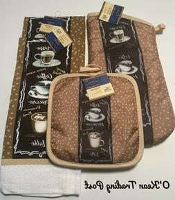 5 Pcs Kitchen Oven Mitt With Two Towels And Two Pot Holders