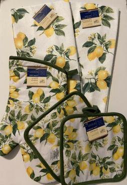 5 SET LEMONS Kitchen Summer 2 Hand Towels 2 Pot Holders 1 Ov