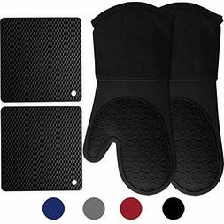 500℉ Heat Resistant Oven Mitts with Kitchen Towels Soft Co