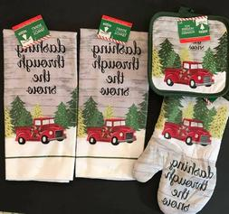"5pc Red Truck ""Dashing Snow"" 2 Christmas Kitchen Towels 2 Po"