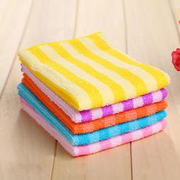 5PCS Kitchen Home Colorful Dining Stripe Square Microfiber D