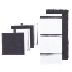 6-pack Gray Cotton Terry Machine Washable Kitchen Towel and