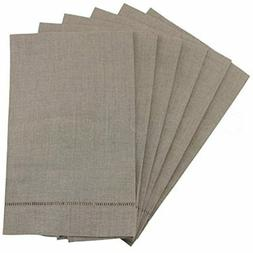 6 Pack Natural Linen Hemstitched Hand Towels - 14&quot X 22&