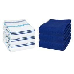 6 Pack of Kitchen Tea Towels - Striped Pattern - 15 x 25 in