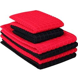 6 Packs Microfiber Kitchen Dish Cloth and Towel Set Red Blac